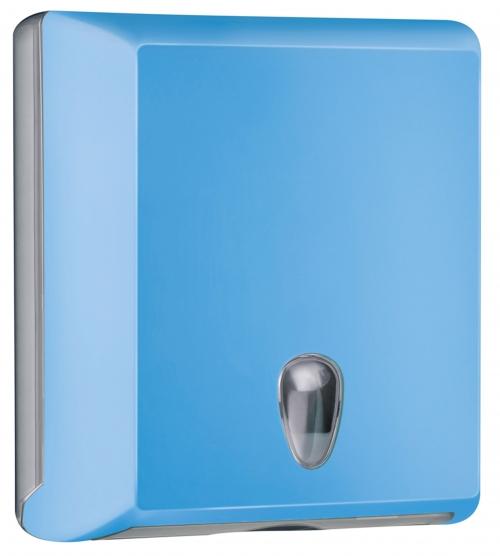 Cleanpaper Design Kunststoff Falthandtuchspender hellblau mit Softtouch Oberfläche